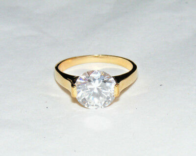 Vintage Costume Cocktail Gold Tone Clear Faceted Stone Size 8.5 Ring B2