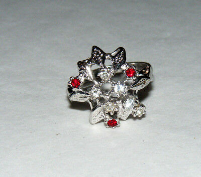 Vintage UNCAS Cocktail Silver Tone Red & Clear Rhinestone Size 7 Ring B2