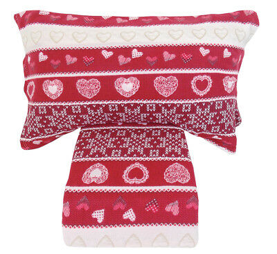 Lenzuola matrimoniale 2 piazze in pile Fancy home shabby cuori rosso