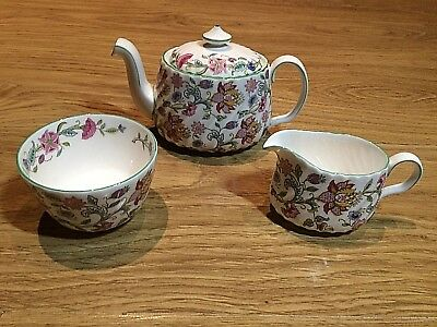 Minton Haddon Hall 3/4, Pint Teapot /  Sugar Bowl / Milk Jug, Green Rim