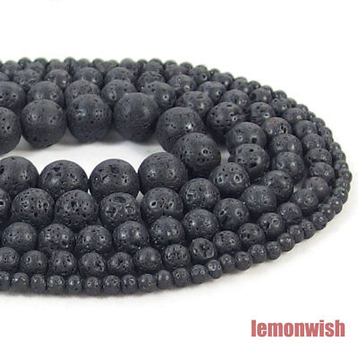 Natural Volcanic Lava Gemstone Round Spacer Beads 15.5'' 4mm 6mm 8mm 10mm 12mm