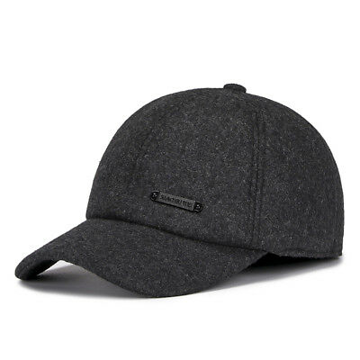 9d2227297e8 Winter Wool Baseball Cap Earflap Fitted Hats for Men Hunting Hat Adjustable