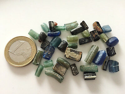 Lot 40 Ancient Roman Hand Carved Glass Beads - Handmade