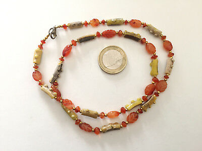 Lot 1 Necklace Roman Hand Carved Glass and Carnelian Beads - Handmade