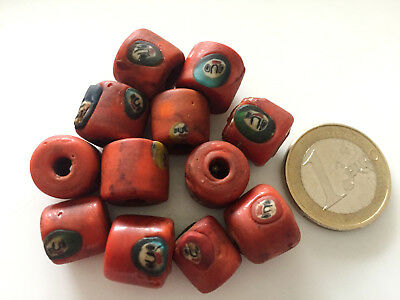 Lot 12 Old Islamic Face Handmade Carved Amulet Glass Beads - Cuentas Antigua