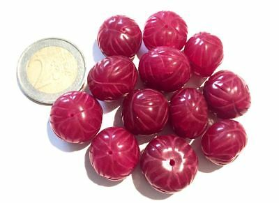 Lot 12 Big Natural Ruby Hand Carved Beads - Handmade