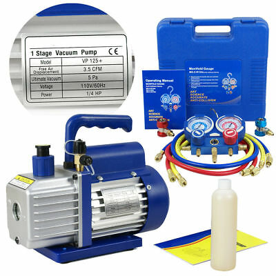 Combo 3,5CFM 1/4HP Air Vacuum Pump HVAC + R134A Kit AC A/C Manifold Gauge Set M8