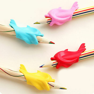 10x Kids Soft Pencil Grip Cute Fish Silicone Corrector Holder Writing Aid Device