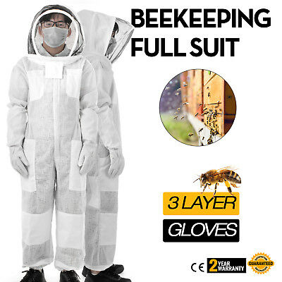 3 Layers Beekeeping Full Suit Astronaut Veil W/ Gloves White Garments Nylon