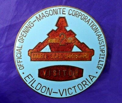 Historic Australian Badge; Visitors Pass Opening Of The Masonite Factory, Eildon