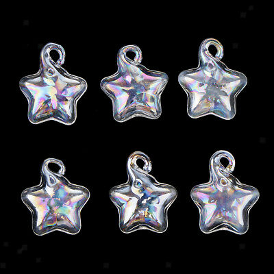 6pcs Rainbow Color Glass Bottle Charm Pendants For Necklace Jewelry Making