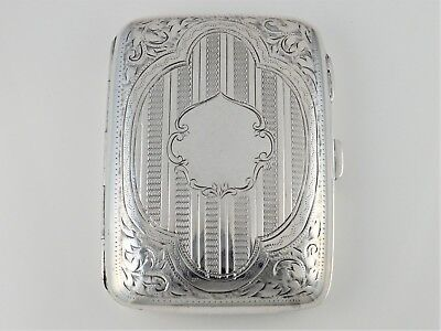 ANTIQUE EDWARDIAN SILVER ENGRAVED ENGINE TURNED CIGARETTE CASE HM B'HAM 1902 91g