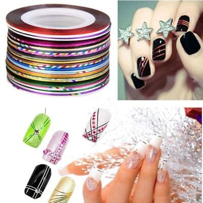 12 x COLORS NAIL STICKER ROLLS STRIPING TAPE LINE NAIL ART UV GEL TIPS DIY KIT