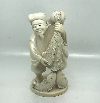 Antique Hand Carved Chinese Asian Oriental Fisherman Statue  Figurine