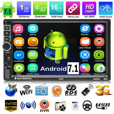 """HD 7"""" 2 Din Quad Core GPS Navi RDS Android 7.1 Car Stereo MP5 Player AM FM Radio"""