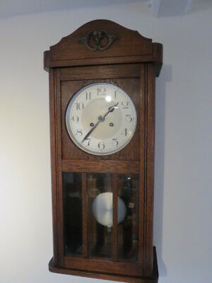 Lovely Vintage Art Deco 8 Day Striking Wall Clock Fully Working