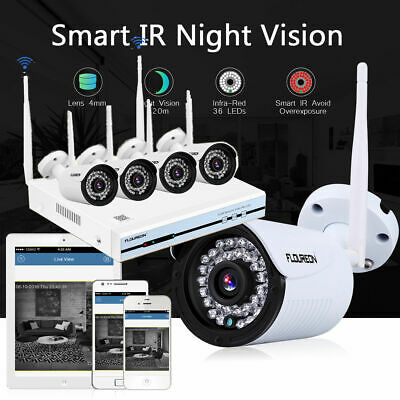 Floureon 4CH Wireless 1080P NVR Outdoor IP Camera Kit WI-FI CCTV Security System