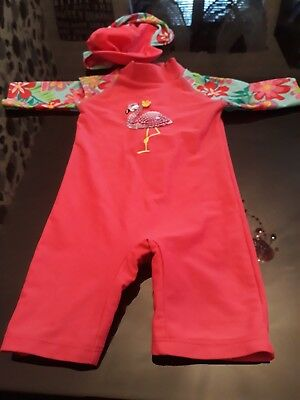 Pretty John Lewis Sun Protected Swim Suit Age 9-12 Months With Hat