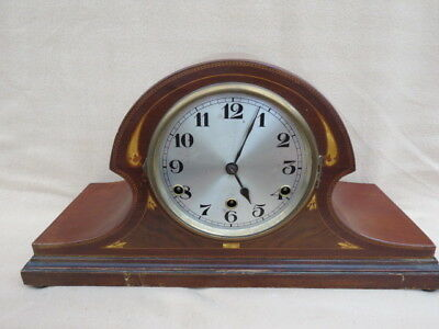 Vintage Mahogany And Inlaid 8 Day Napoleon Hat Clock For Tlc
