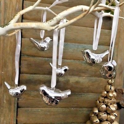 Set of 6 Silver Ceramic Hanging Birds Doves Chic Wedding Wishing Tree Decoration