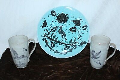 EDWIN & MARY SCHEIER Pottery Cups & Bowl vintage