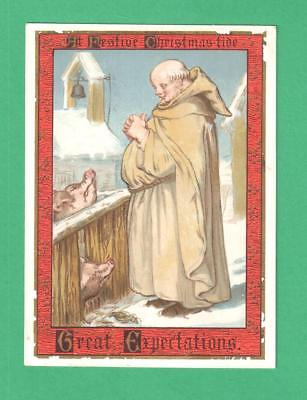 Antique Victorian Christmas Greeting Card Monk Selects Pig/pen For Xmas Dinner