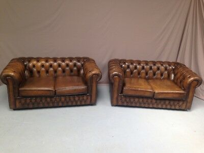 Paire Canapes Chesterfield Marron