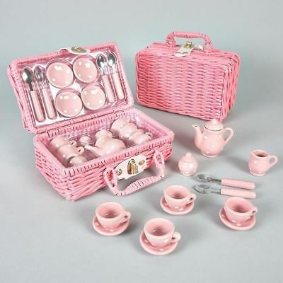 Porcelain Tea Set with Pink Basket 17 pcs. - Pretend Play Toy by Floss & Rock