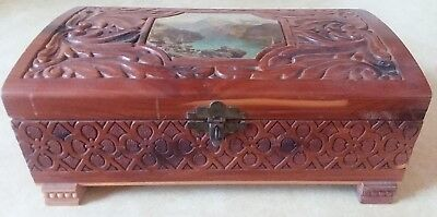 Vintage Hand Carved Wooden Jewelry Box Water & Mountains