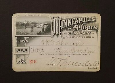 RARE ~ 1888 Minneapolis And St. Louis Railway & Operated Lines Ticket ~ No. B19