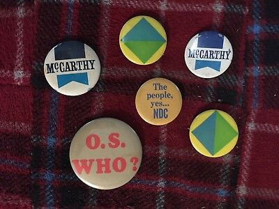 Lot of 6 Vintage 1960s Political Pinback Buttons McCarthy and others