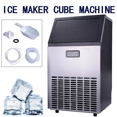 Automatic Commercial Ice Maker Stainless Steel Machine 100lbs/24h Water Cooled