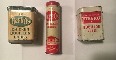 Pure Food Herb-Ox Vintage 1950's Bouillon Cubes Tin Cans