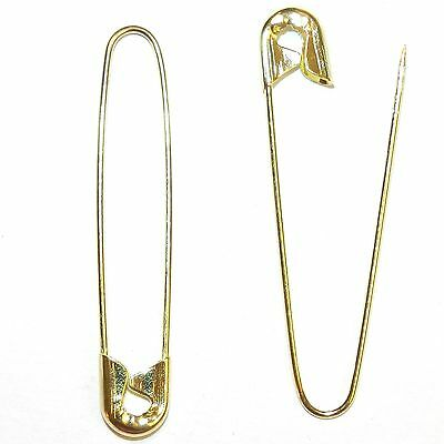 """SP114 Gold 2-1/4"""" Coiless French Safety Pin For Beads, Crafts & Jewelry 18pc"""