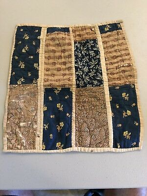 "Antique Civil War Era Doll Quilt 15"" X 15"" 1850s-1860s"