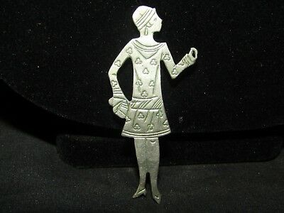 Vintage silver 1920's dressed female pin