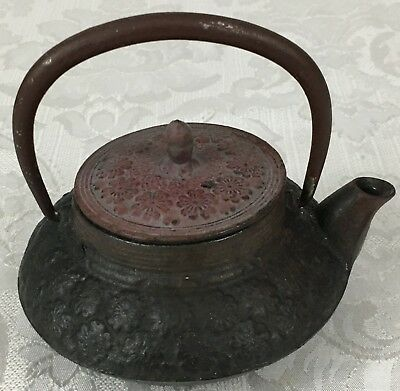 Antique Japanese Cast Iron Floral Tetsubin Kettle Teapot with Strainer Inscribed