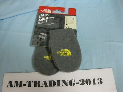 NWT The North Face Baby Nugget Mitt Unisex Gray/Yellow - XS -