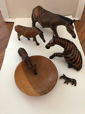 5 Hand Carved ZEBRAS Wooden Art Sculpture Wood Figurines Africa Kenya SEE!