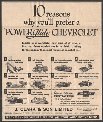 1952 Canadian Chevrolet ad Powerglide transmission Clark & Son New Brunswick