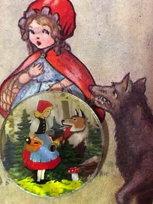 """Awesome little red riding hood resin button 1"""" Story book Button"""