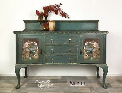Green Blue Vintage Sideboard, Living Room Furniture, Storage Cabinet, Upcycled