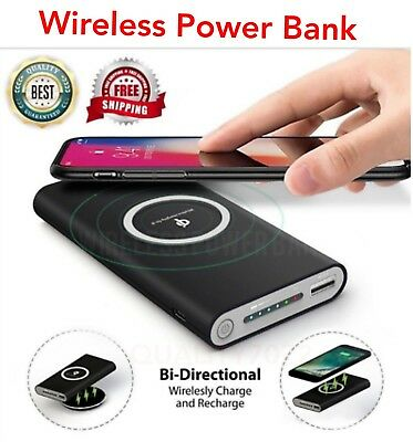 Wireless Power Bank 10000mah Fast Charging Battery Charger Samsung iPhone HTC