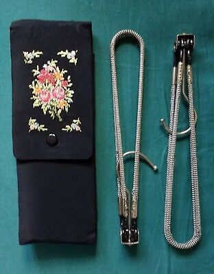 2 x vintage 1950's folding metal travel hangers in a silk embroidered case