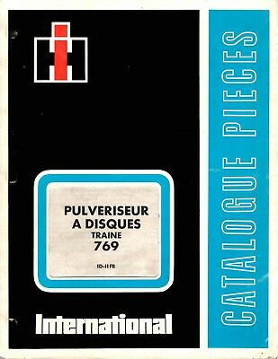 Catalogue pièces IH International puvériseur à disques 769