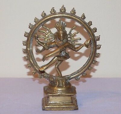 Antique Indian Bronze Brass Tamil Shrine Deity Shiva Nataraja Lord Dance Statue