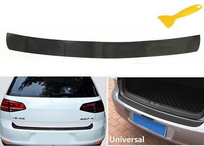4D Carbon Fiber Auto Rear Trunk Tail Lip Protect Decal Sticker Car Styling Black