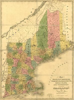 "18"" x 24"" 1839 Map Of Maine New Hampshire Vermont Massachusetts Rhode Island"