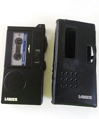 Harris Lanier P-135 Micro Cassette Recorder w/Leather Case Vintage