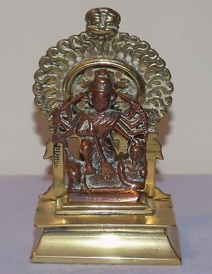Antique Anglo-Indian Bronze Pilgrims Home 3 Part Shrine Deity God Jain Statue